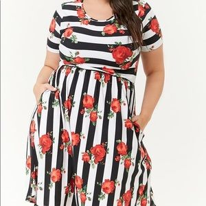Black and White Striped Floral Dress